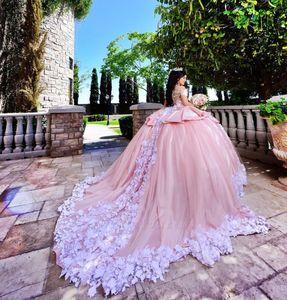 Lindo Rosa Com Branco Applique Vestidos Quinceanera vestido de Baile Sheer Neck Custom Made Prom Vestidos Tulle Em Camadas