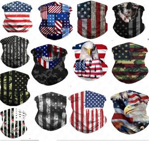 Face de impressão 3D American National Flag Máscara Máscaras Bandana respirável metade do rosto Cachecol Bandana Ciclismo UV poeira proteção contra o vento D52707 Máscara