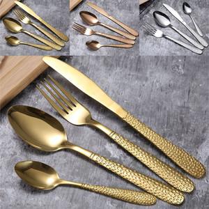 Juego de vajilla de acero inoxidable dorado Cuchara Tenedor Cuchillo Cubiertos Conjuntos Cena Sopa de filete Café Helado Cuchara Utensilio de cocina DHL WX9-1155