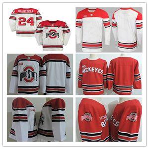 Пользовательские для мужчин штата Огайо Buckeyes Hockey Джерси Big Ten прошитой Red White Любой номер Название 3 САША LAROCQUE 26 Мэйсон Jobst 7 WYATT EGE
