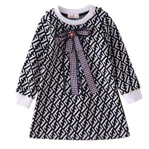 Hot Selling 2020 Spring Autumn 100% Cotton Children's Clothing Children's Skirts Girls Dresses Round Collar Full Sleeve Children Dresses