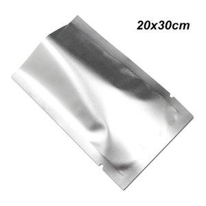 Argento opaco 20x30 cm 50 pz Mylar Foil borse vuoto foglio di alluminio Mylar Food Storage Pouch Per Il Caffè Tè In Polvere Open Top sigillabile Foil borse