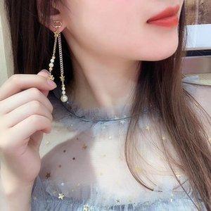 C1958 Korean fashion tassel long clover ear stud drop trend sweet pearl five-pointed star bee letter earrings