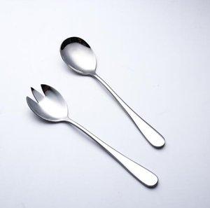 de acero inoxidable vajilla occidental espesó ensalada grande tenedor hotel de la casa mezclando conjunto vajilla cuchara tenedor de ensalada