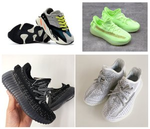 New Kids 2020 Shoes Kanye West Zebra Beluga corredor da onda Cinza Laranja Preto Running Shoes Trainers For Kids Baby Boy Girl With Box