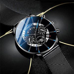 Montre Homme Classic Blue Stainless Steel Mesh Belt Men Watch Fine Strap Quartz Watch Fashion Business Analog Clock Uhren Herren