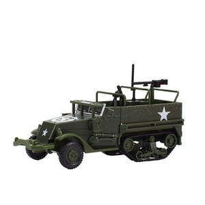 Mini Inertial Military Halftracked Vehicle Model Camouflage Simulation Military Car Toy Handmade Assembled Kits Toys Creativity Gifts