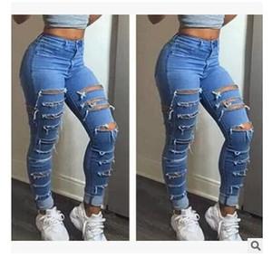nova alta europeus e americanos deste ano cintura buracos calças jeans de lavagem de fábrica vendas diretas das mulheres