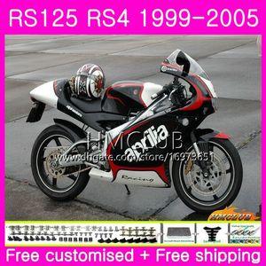 RS125R Для Aprilia RS 125 1999 2000 2001 2002 2003 2005 40HM.17 RSV125R RS4 RS-125 RSV125 R RS125 99 00 01 02 03 04 05 Черный глянцевый обтекатель