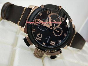 Luxury High Quality Watch 50mm Fontana Flightdeck Eclipse 18k Rose Gold Leather Bands VK Quartz Chronograph Workin Mens Watch Man's Watches