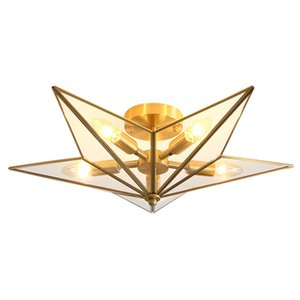 Creative Nordic Copper Octagonal Stars Led Ceiling Light E14 X 5 Aisle Staircase Corridor Living Room Ceiling Lamp Home Decor Light Fixtures