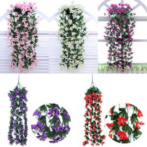 Lily Pared colgantes de la flor del banquete de boda de la flor artificial de la orquídea la cesta de la sala la decoración del hogar decoración de flores de seda