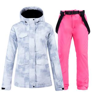 Pantaloni bianchi Le donne di sci set di sci e cappotto femminile Giacca impermeabile Winter Snow e Pantaloni Womens Set abbigliamento invernale femminile