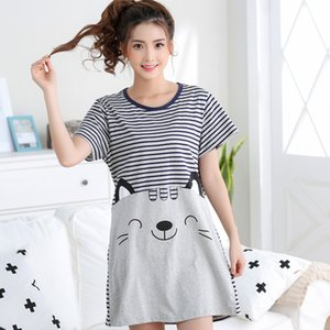 Womens Summer Short Sleeve Sleep Dress Lovely Cartoon Cat Sleepshirt Plus Size Lady Nightdress Young Girl Night M-5XL CX200606
