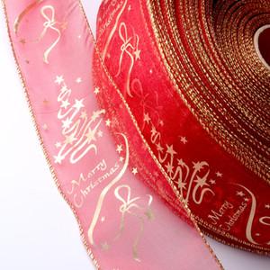 Düğün Noel Partisi Dekorasyon DIY El Sanatları Kek Hediye Paketleme Bow Dekor İpek Kurdela için 1000pcs Yıldız Baskılı Organze Kurdele