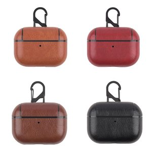 New For Apple AirPods Pro PU Leather Protective Case Shockproof Charging Portable Earphone Cover Cases With Anti-lost Hanging Keychain
