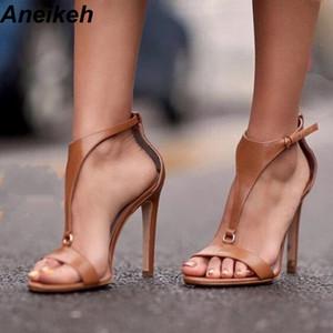 Aneikeh NOUVEAU Brown T Bracelet Stiletto Heels Sandales à bout ouvert pour les femmes Boucle d'été Bracelet Gladiator sandales à talons Chaussures Noir MX200407