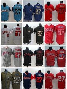 Personalizado Homens Mulheres Juventude LA Angels Jersey # 27 de Mike Trout Branco Início Red Baseball Jerseys Atacado
