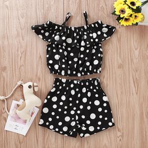 Kız Bebek Sling Kıyafetler Dot Baskılı Sling Lotus Yaprağı Tops Şort İki Parçalı Set Çocuk Casual Giyim Kız Kız Giyim 2-7T 07