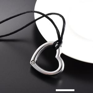 LKJ9914 Big Hollow forme de coeur Collier Crémation en acier inoxydable avec corde noire Keepsake bijoux Ash Funéraille pour homme