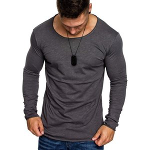 Casual Mens Slim Fit T-Shirt 2018 Man Pure Color Langarm-Muskel T Tops Heißer Verkaufs-Herbst-Rundhals-T-Shirts Pullover Tops