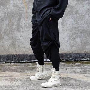 EWQ / мужская одежда 2020 весна лето новые черные боковые бандажные брюки Мужские корейские тренчи мода ниша дизайн повседневные брюки 9Y1712
