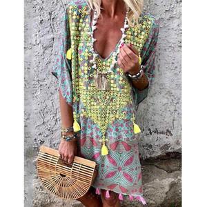 새로운 패션 보헤미안 플러스 사이즈 여성의 여름 짧은 소매 롱 T 셔츠 여성 캐주얼 드레스