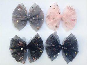 Acessórios Grampos de cabelo Moda gaze bonito Bow Grampos Glitter Estrela bowknot Jacaré Princesa Headwear Boutique 20pcs para meninas