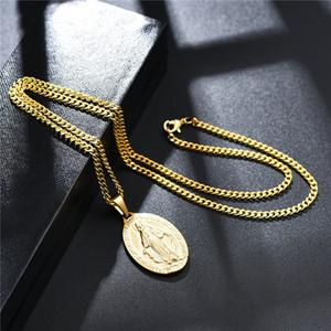 Gold Charm Herren Jungfrau Maria Anhänger Halskette Mode Hip Hop Schmuck Anhänger 18 Karat vergoldet Link Kette Designer Halskette für Männer Frauen Geschenk