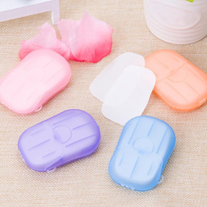 20pcs / Set jetable Boxed savon papier portable aromathérapie Lavage à la main Bain Mini Voyage boîte à savon savon Base de bain Accessoires DHL