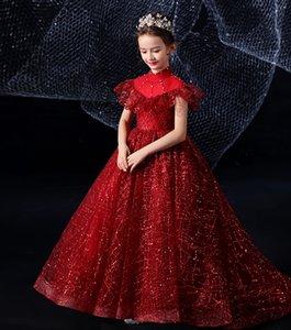 Cina primavera / autunno del vino collo alto, fiore ragazze Abiti da spettacolo delle ragazze di abiti da sera eleganti abito Vacanze formato del vestito su misura 2-14 F1018001