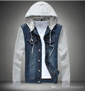 Men's Casual Jean Jacket With Removable Hat Men Spring Cotton Jackets Pockets Male Fashion Street Jeans Jacket Plus Size M-5XL