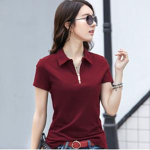 GGRIGHT 2020 Nouvelle fermeture à glissière coton Chemises Femmes Printemps Eté Casual Taille Plus TURN-Col Femme Tops Respirant
