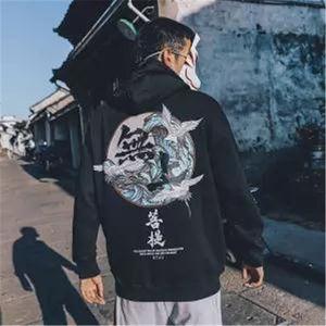 5XL моды Harajuku фуфайки Hoodie Mens Casual Black Hip Hop Япония Печать Hoodie Streetwear Одежда Top Coat Winter Hoodie V191019