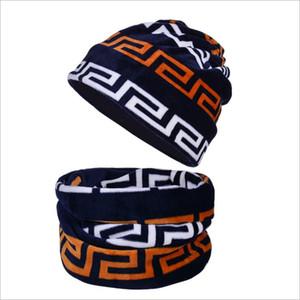 Presente de Natal Cashmere Chapéus de Inverno Cachecol de duas peças Conjunto para Man morno mulheres de veludo de malha de Inverno Ciclismo Caps Hat lenço no pescoço 28 Styles