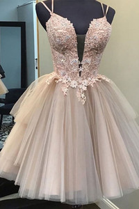 Dusty Pink аппликацией кружева бретельках Короткие Homecoming платье мини коктейль платья с открытой спиной вечерние Выпускные платья партии
