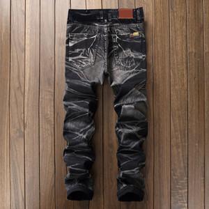Moda-Erkekler Sıkıntılı Stretch Biker Jeans Vintage Erkekler Hip Hop Slim Fit Jeans Pantolon Retro Punk Tarzı Düz Kot Pantolon Artı boyutu