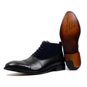 Big Size 39-46 Moda Stivaletti Gentleman in vera pelle e pelle scamosciata Puntale Lace Up Mens Dress Scarpe Marrone Nero di base Stivali