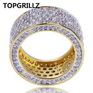 TOPGRILLZ Nueva Moda Oro Plateado Micro Pave Cubic Zircon Anillo Redondo Completo helado hacia fuera Bling Hip Hop Rock Joyería Para Hombre