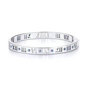pulseras de acero inoxidable de joyería de moda de Roma pulsera digital de pulsera de diamante azul