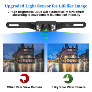 Vehicle Backup Camera Rear View Camera Waterproof HD Color Wide Viewing Angle License Plate Car Camera with 7 Bright LED Night Vision