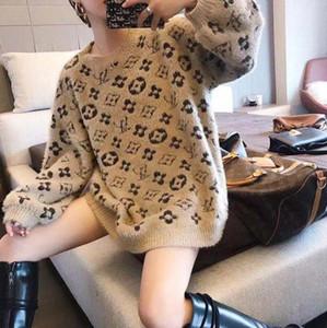Qiu Dong New Designs fêmea macia e quente camisola Languid é preguiçoso soltas Knitting Sweater moda pequeno Jacquard camisola de manga longa