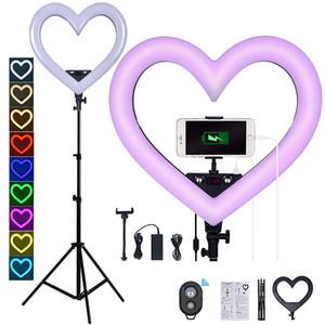 18-Zoll-Multi-Color LED RGB Fotografie Beleuchtung 3200K-5600K herzförmige Lampe mit Stativständer für Kamera YouTube Makeup Self-Portraitt