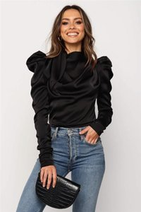Women Satin Blouses 2020 Fashion High Neck Long Puff Sleeve Black Elegant Blouse Shirt Office Lady Classic Blusas Chemise Femme
