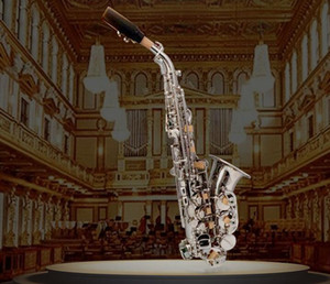 2020 сопрано саксофон изогнутый саксофон B-настроенный музыкальный инструмент серебро с мундштуком тростниковый чехол Бесплатная доставка