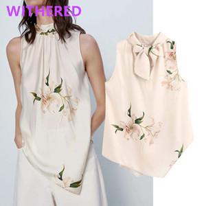 Withered england floral printing satin bow sleeveless summer blouse women blusas mujer de moda 2020 kimono shirt womens tops
