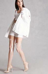 дизайнер обуви Clear PVC над коленом Остроконечные Toe Женщины Boots Прозрачные высокие каблуки гладиатор Бедра обувь Высокие сапоги Знаменитости