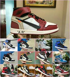 2019 High OG 1 NRG scarpe da basket bianche alte blu polvere 10X Chicago Bred scarpe da ginnastica 1s uomo bianche nere rosse Royal Fragment UNC scarpe da ginnastica
