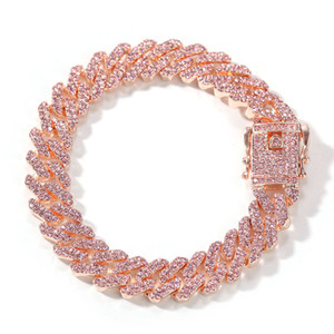S-Link Miami 12mm Rose Gold Cuban Armband Rosa Strass Legierung Gefrorenes Hip Hop Fashion Punk Halskette Schmuck