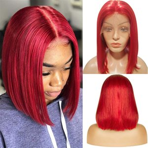 """Sunny Beauty Red Color Short Lace Wigs 12"""" Silky Straight Bob Wigs for Black Women 150% Density Lace Front Wigs Human Hair with Pre Plucked"""
